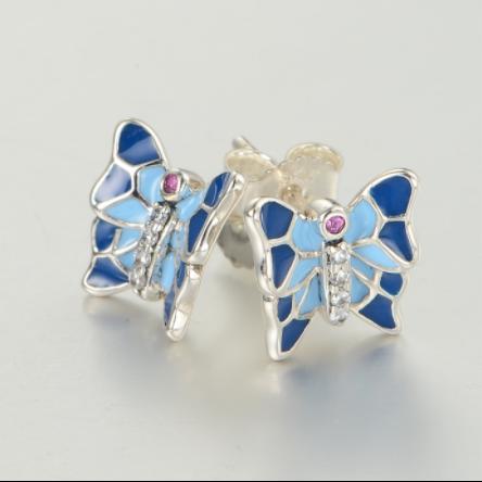 Cercei Butterfly Blue argint 2