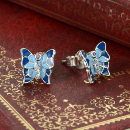 Cercei Butterfly Blue argint 4