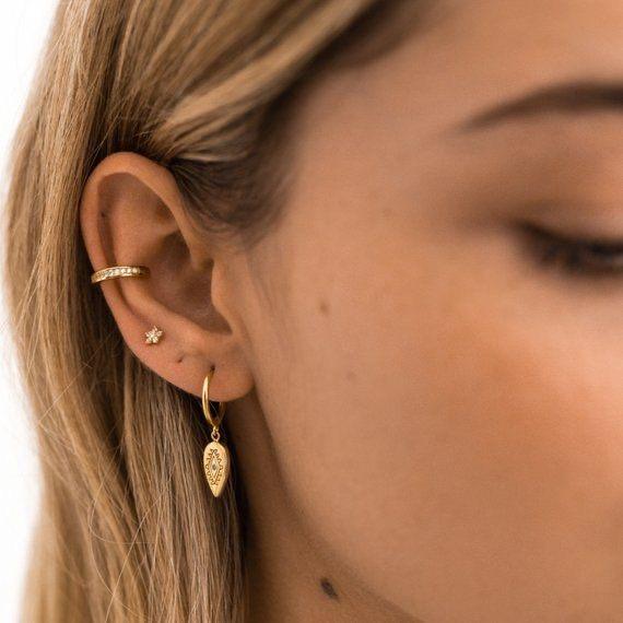 Cercel argint placat cu aur Ear Cuff [0]