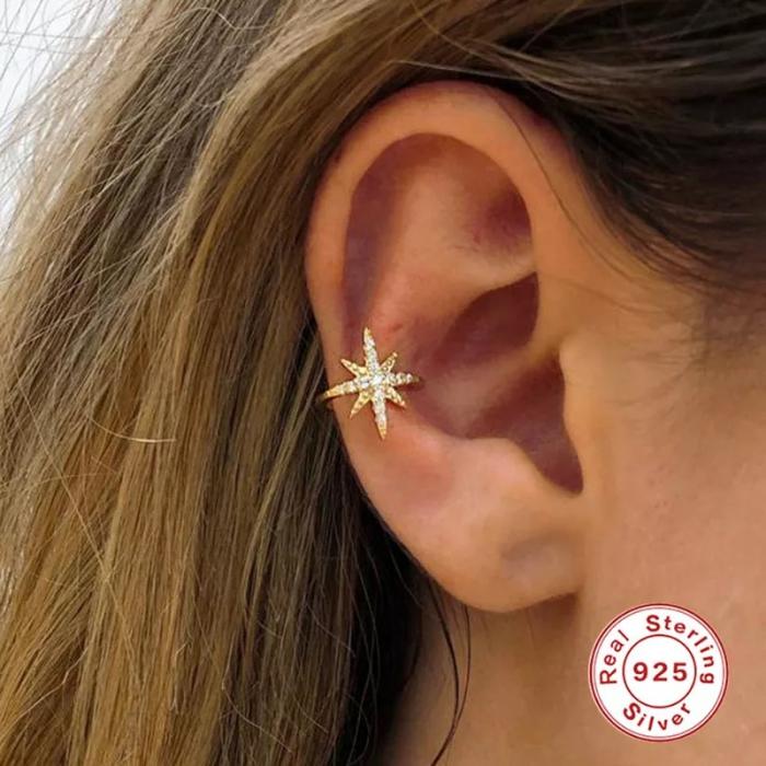 Cercel argint placat cu aur Ear Cuff Star 3