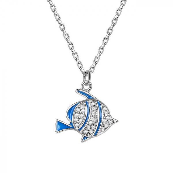 Colier agint rodiat Blue Fish [0]