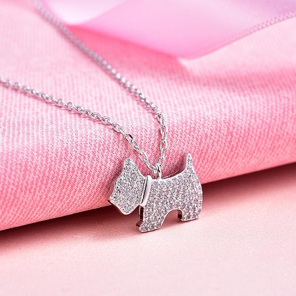 Colier argint rodiat Dog 2