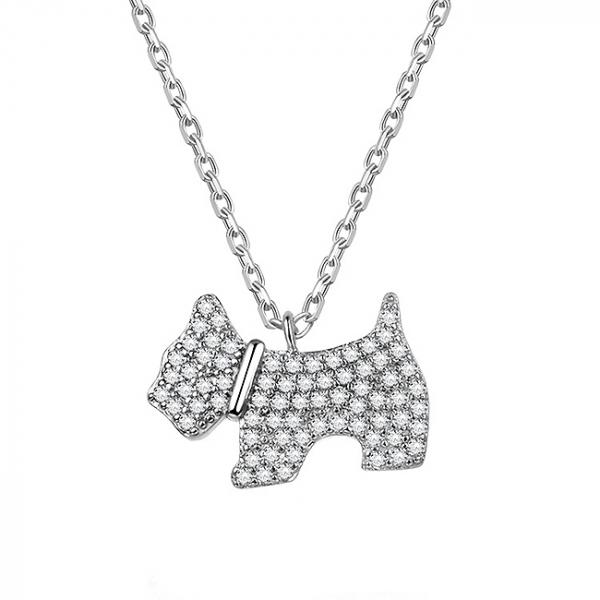 Colier argint rodiat Dog 0