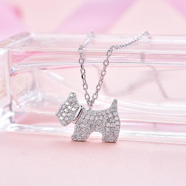Colier argint rodiat Dog 1