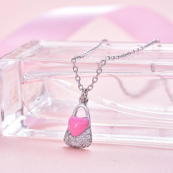 Colier argint rodiat Pink Heart Lock 1