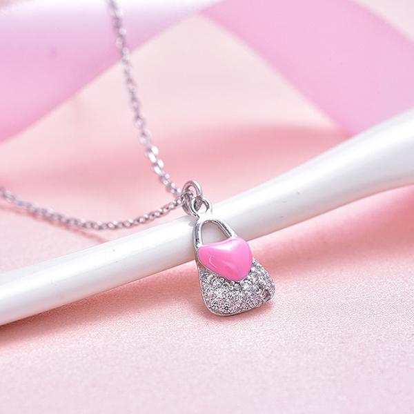 Colier argint rodiat Pink Heart Lock 2