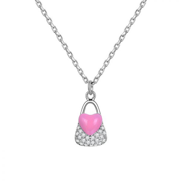 Colier argint rodiat Pink Heart Lock [0]
