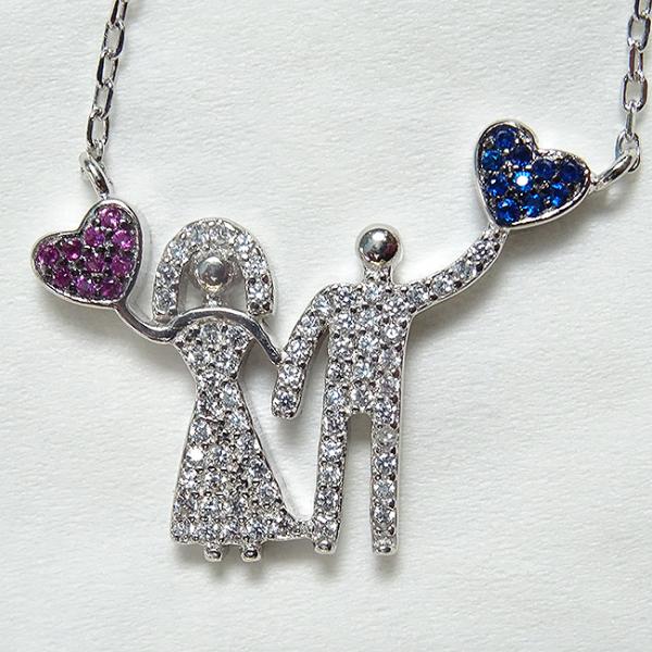 Colier argint rodiat placat cu aur Love Couple 0