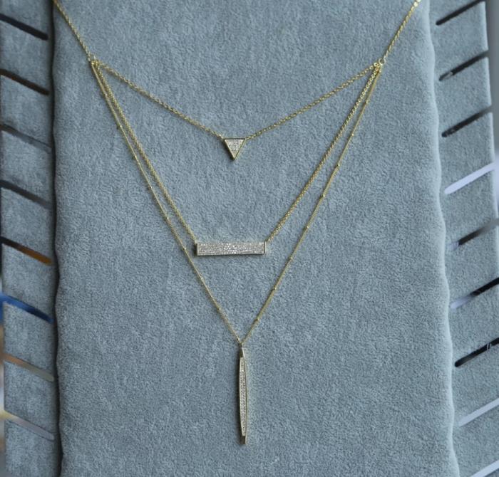 Colier Fashion 3 straturi din argint 925 placat cu aur 18K 1