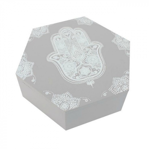 Cutie hexagonala din lemn Hamsa 0
