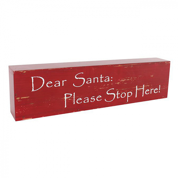Decoratiune lemn Craciun Santa Please stop 0