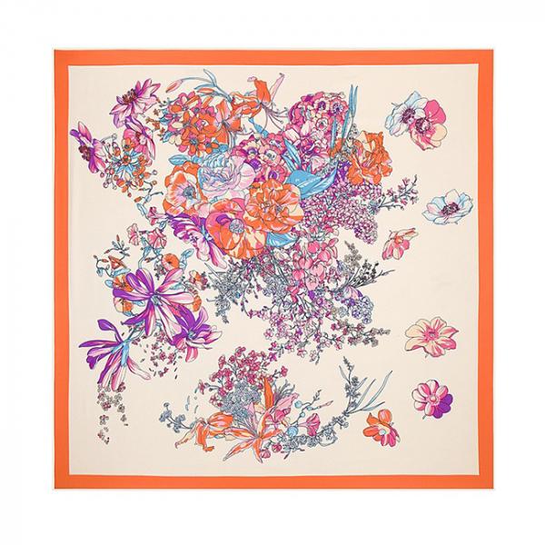 Esarfa din matase si poliester Dream Flowers Orange 0