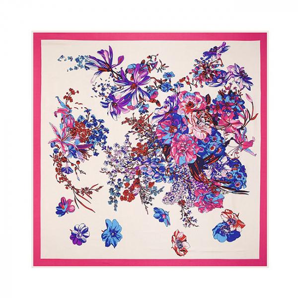 Esarfa din matase si poliester Dream Flowers Pink 0