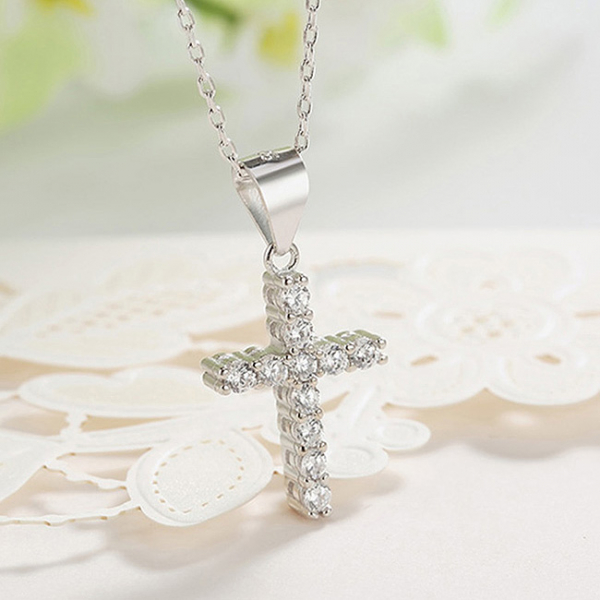 Pandantiv argint rodiat Cruce 1