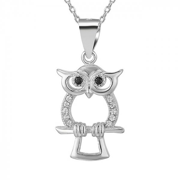 Pandantiv argint rodiat Owl 0
