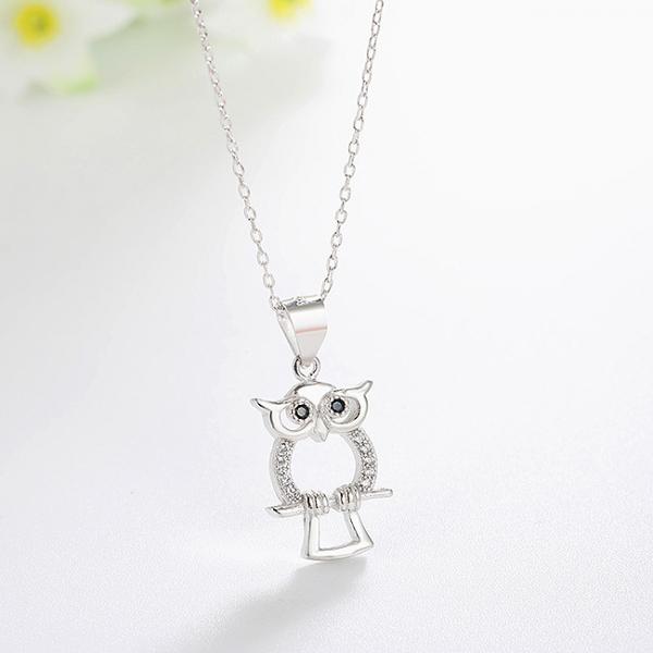 Pandantiv argint rodiat Owl 1