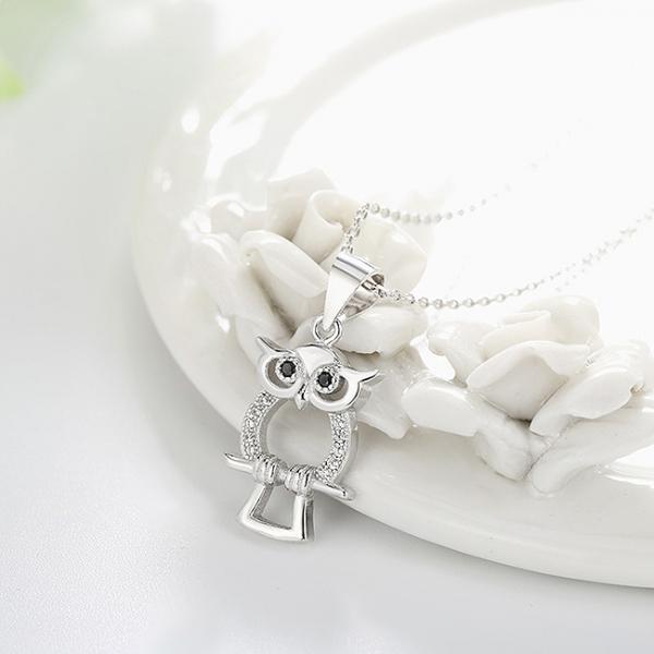 Pandantiv argint rodiat Owl 2