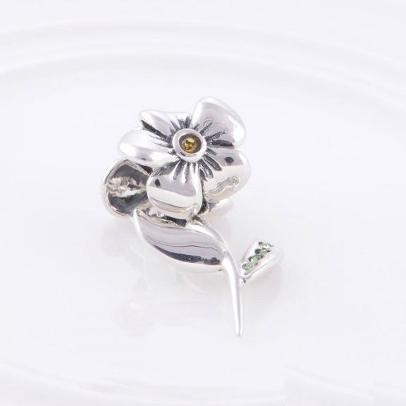 Pandantiv Floare cu tulpina din argint 2