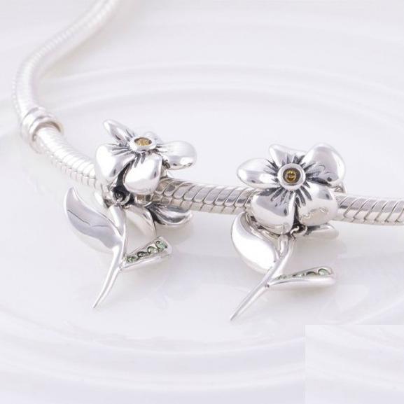 Pandantiv Floare cu tulpina din argint 4