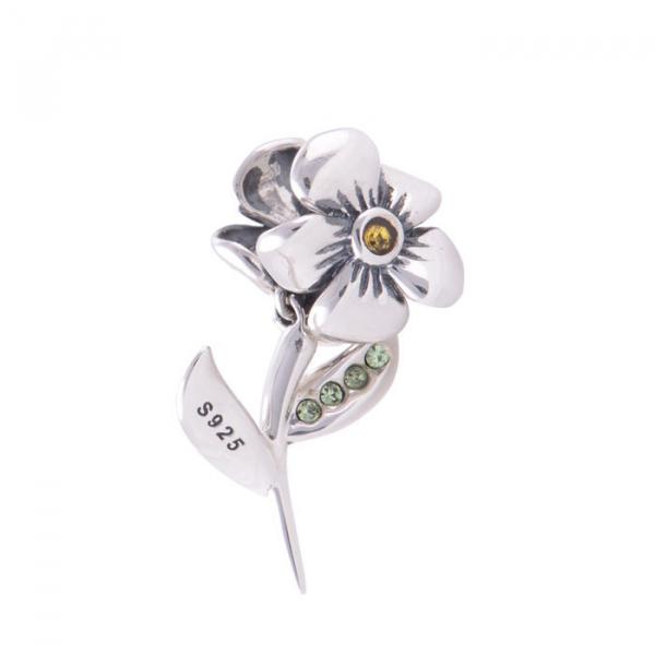 Pandantiv Floare cu tulpina din argint 0