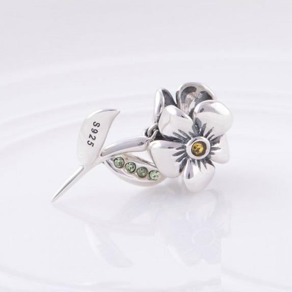 Pandantiv Floare cu tulpina din argint 3