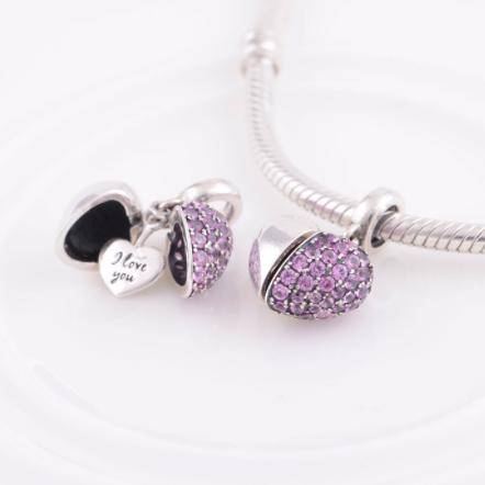 Pandantiv Mauve Heart din argint 2