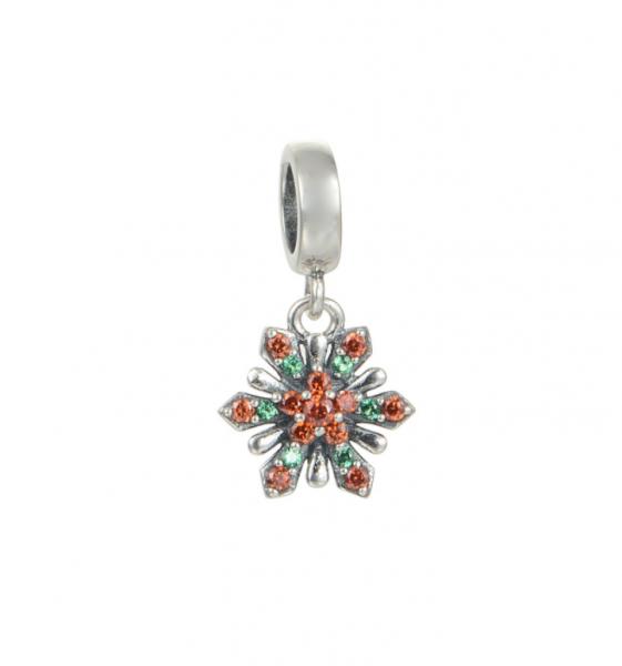 Pandantiv Red&Green Flower argint 0