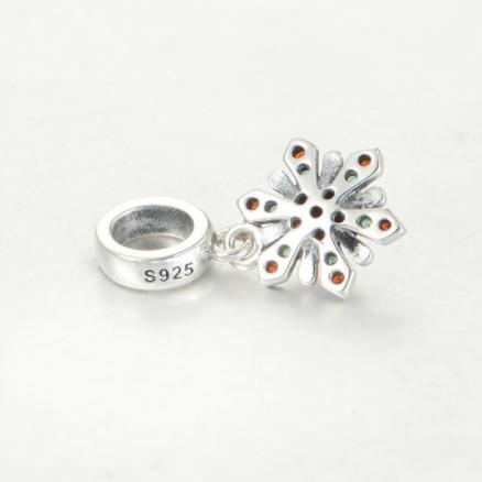 Pandantiv Red&Green Flower argint 2