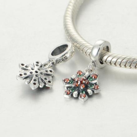Pandantiv Red&Green Flower argint 3