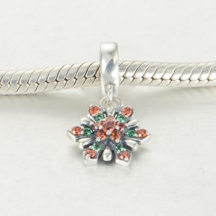 Pandantiv Red&Green Flower argint 1