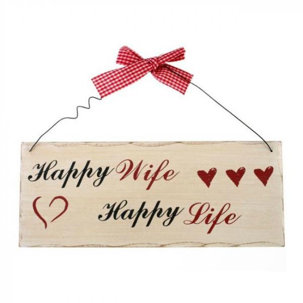 Placuta decorativa Happy wife 0
