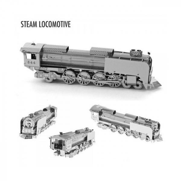 Puzzle metalic nano  3D – locomotiva cu abur 1