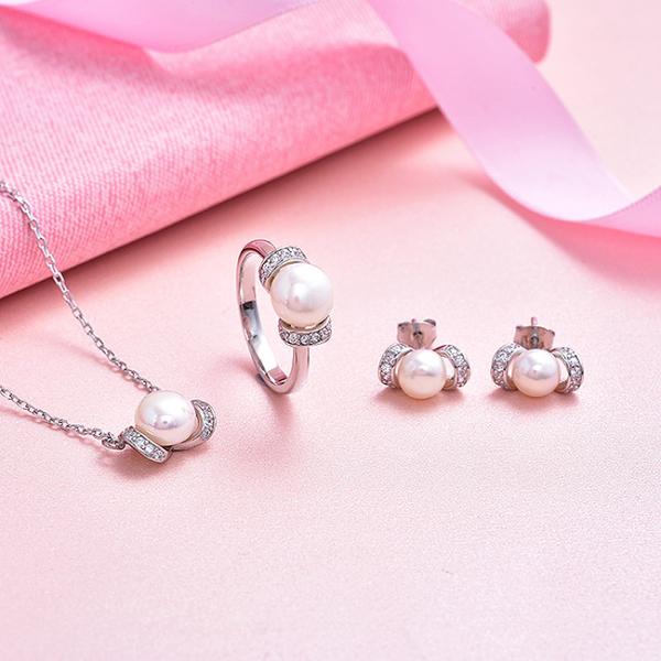 Set bijuterii argint rodiat Pearls 1