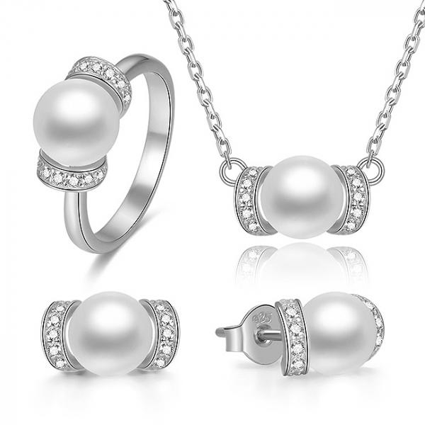 Set bijuterii argint rodiat Pearls 0