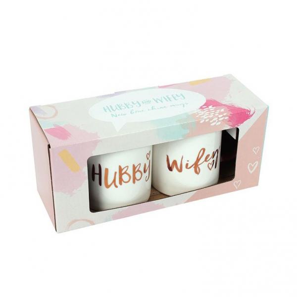 Set cadou 2 cani ceramice Hubby & Wifey 2