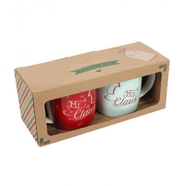 Set cadou 2 cani ceramice Mr. &Mrs. Claus 1