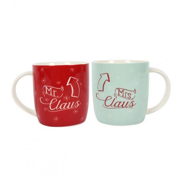Set cadou 2 cani ceramice Mr. &Mrs. Claus 0