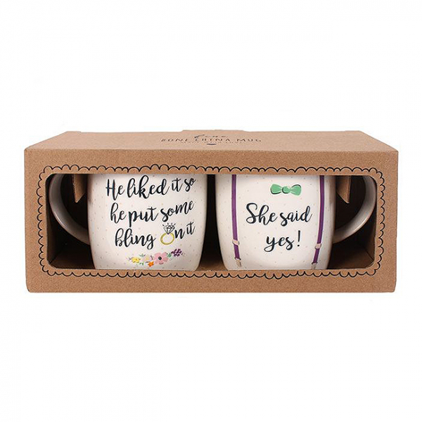Set cadou 2 cani ceramice She said yes 1