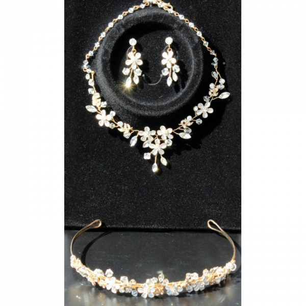 Set tiara, colier si cercei Gold Sparkle 4