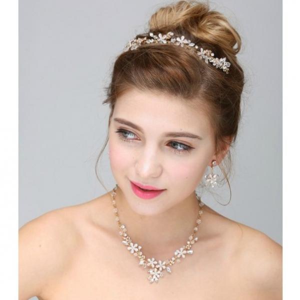 Set tiara, colier si cercei Gold Sparkle 0