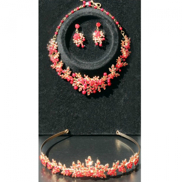 Set tiara, colier si cercei Red Passion 3