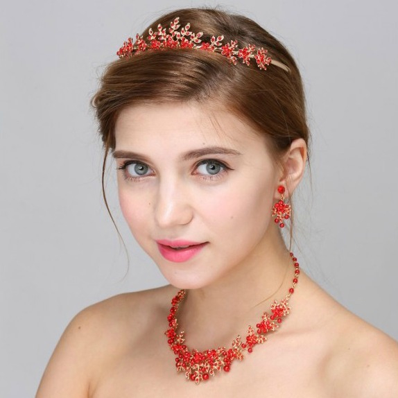 Set tiara, colier si cercei Red Passion 0
