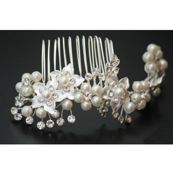 Tiara Agrafa Flower Pearl 2