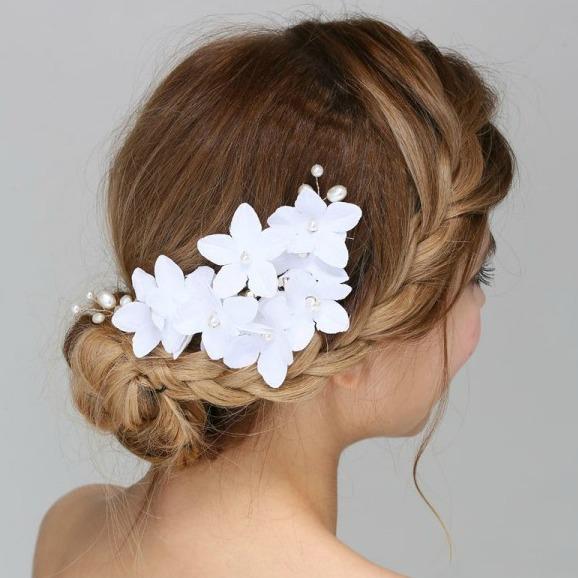 Tiara Agrafa White Flowers  0