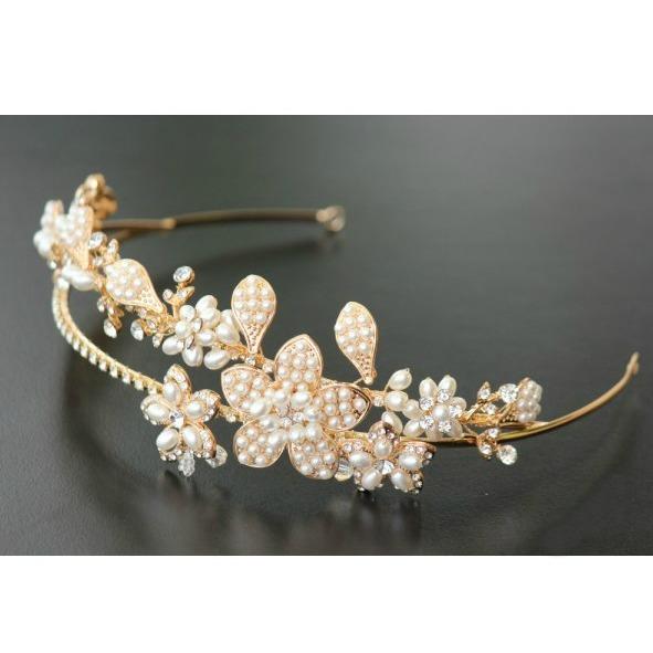 Tiara Gold Pearl Flowers 2