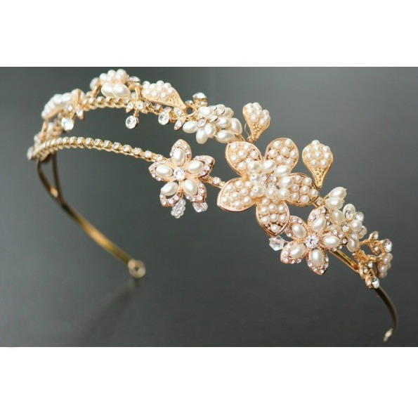 Tiara Gold Pearl Flowers 4