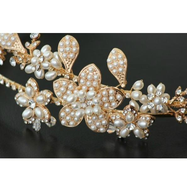 Tiara Gold Pearl Flowers 1
