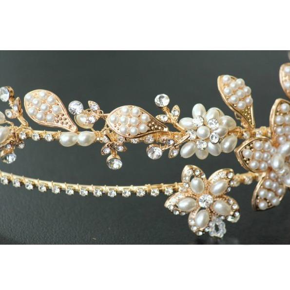 Tiara Gold Pearl Flowers 6