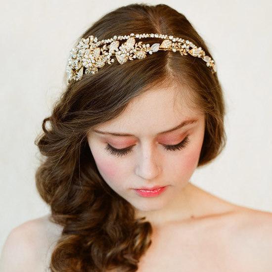 Tiara Gold Pearl Flowers 0
