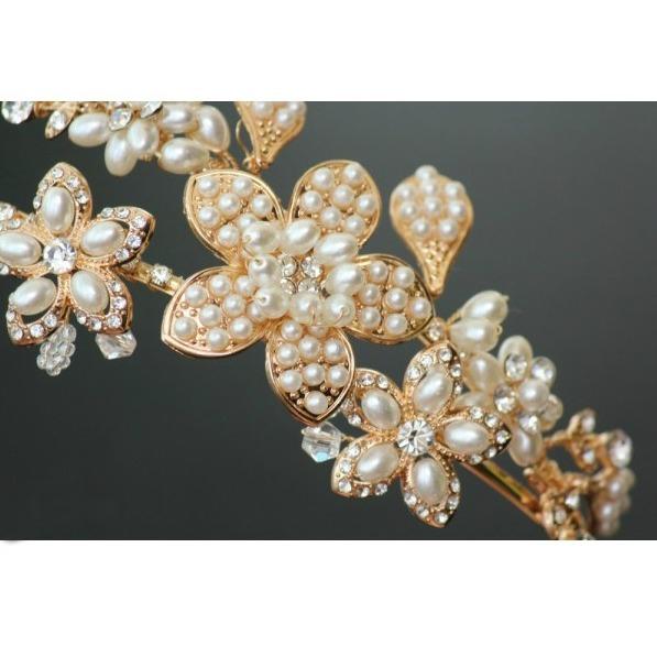 Tiara Gold Pearl Flowers 3